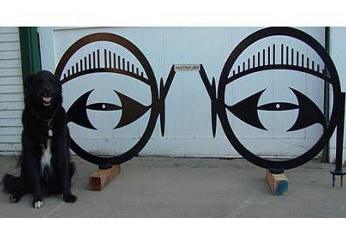 Bicycle Greeting Card featuring the sculpture Eyeglass Bike Rack by Steve Mudge