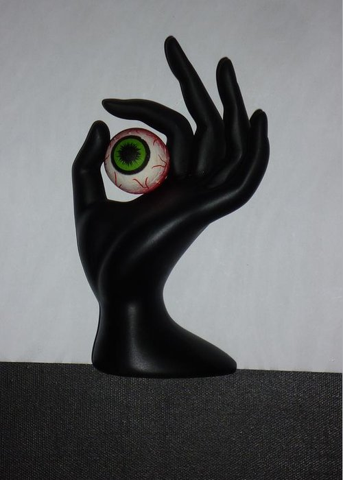 Eye Greeting Card featuring the sculpture Eyehand by Douglas Fromm