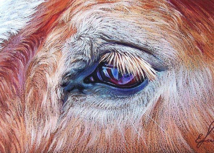 Animal Greeting Card featuring the drawing Eyelashes by Elena Kolotusha