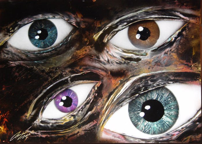 Eyes Greeting Card featuring the painting Eyes by Angel Ortiz