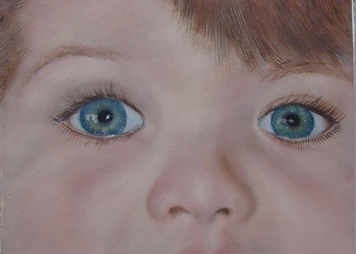 Eyes Greeting Card featuring the painting Eyes Of A Child by Darlene Green