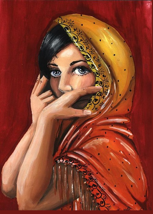 Warm Colors Greeting Card featuring the painting Eyes by Scarlett Royal