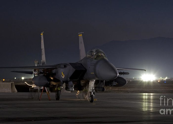 F-15 Greeting Card featuring the photograph F-15e Leaving For A Night Mission by Tim Grams