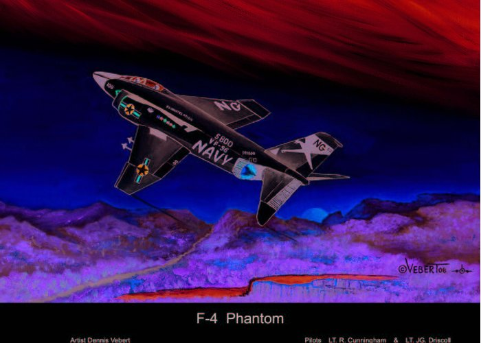 War Plane Greeting Card featuring the painting F-4 Phantom by Dennis Vebert