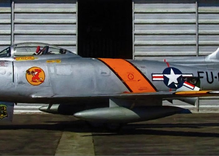 F-86 Greeting Card featuring the digital art F-86 Sabre by Dale Jackson