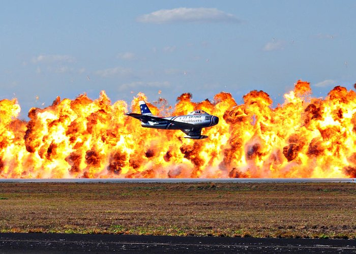 Fighter Greeting Card featuring the photograph F-86 Wall Of Fire by Mark Weaver