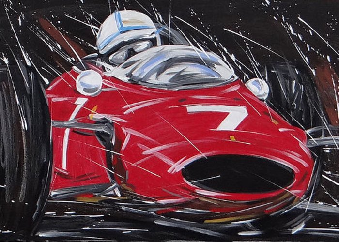 Cars Greeting Card featuring the painting F1 Surtees Ferrari 1964 by Roberto Muccilo