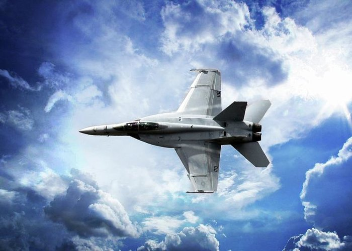 F18 Greeting Card featuring the photograph F18 Fighter Jet by Aaron Berg