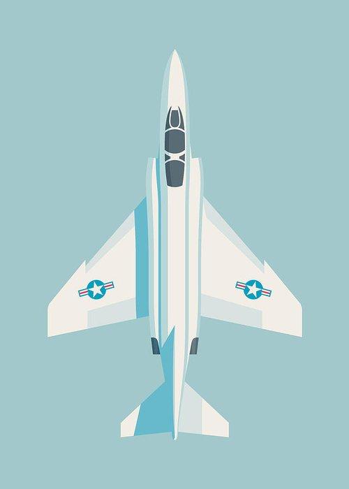 Jet Greeting Card featuring the digital art F4 Phantom Jet Fighter Aircraft - Sky by Ivan Krpan