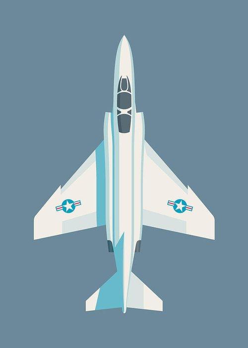 Jet Greeting Card featuring the digital art F4 Phantom Jet Fighter Aircraft - Slate by Ivan Krpan