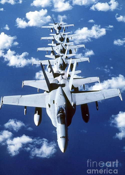 Vertical Greeting Card featuring the photograph Fa-18c Hornet Aircraft Fly In Formation by Stocktrek Images