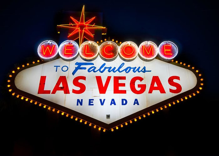 Casino Greeting Card featuring the photograph Fabulous Las Vegas Sign by Steve Gadomski