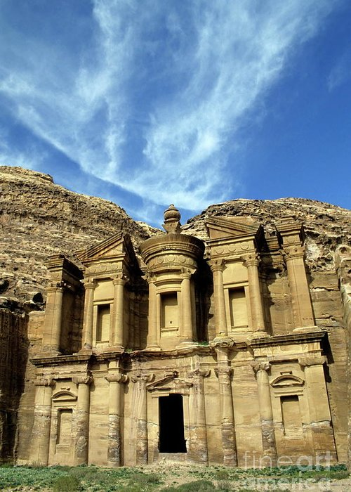 Ad Deir Greeting Card featuring the photograph Facade Of Ad Deir An Ancient Rock-cut Monastery In Petra by Sami Sarkis