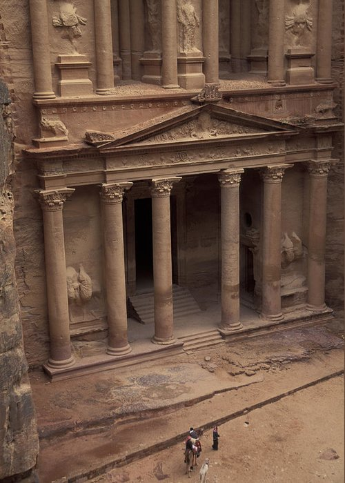Petra Greeting Card featuring the photograph Facade Of The Treasury In Petra, Jordan by Richard Nowitz