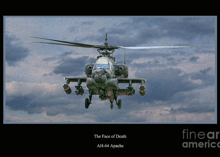 Apache Sunset Greeting Card featuring the digital art Face Of Death Ah-64 Apache Helicopter by Randy Steele