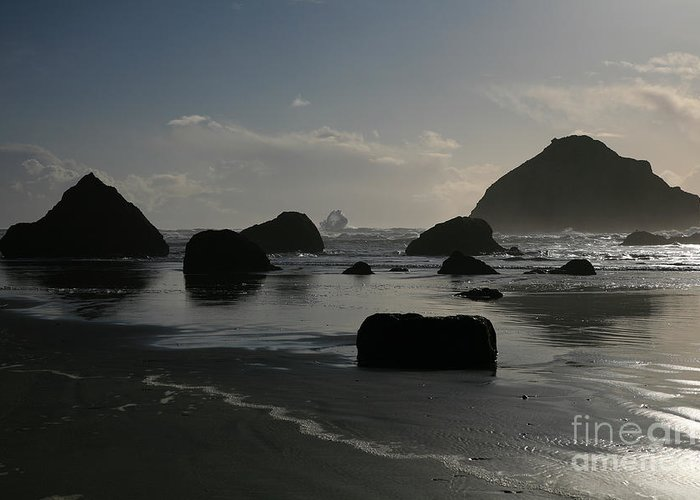 Face Rock Greeting Card featuring the photograph Face Rock And Stacks by Timothy Johnson