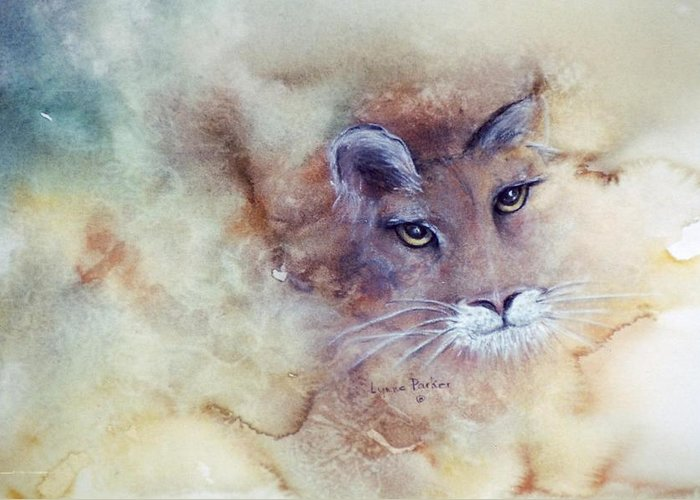 Cougar Face Greeting Card featuring the painting Face With In by Lynne Parker