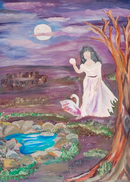 Woman Greeting Card featuring the painting Faceless Wishing Well by Mikki Alhart