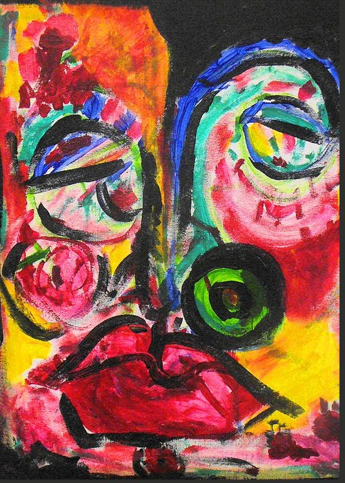 Face Greeting Card featuring the painting Faces II by Joyce Goldin