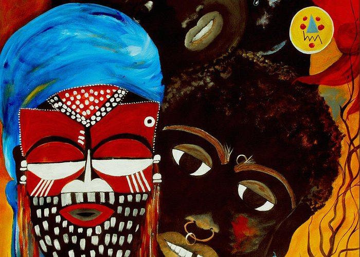 Abstract Greeting Card featuring the painting Faces Of Africa by Ruth Palmer