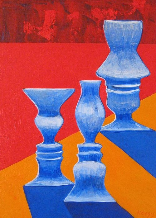 Profiles Greeting Card featuring the painting Faces Vases by Rollin Kocsis