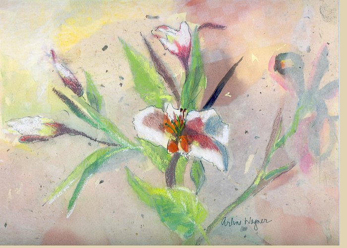 Flower Greeting Card featuring the painting Faded Lilies by Arline Wagner