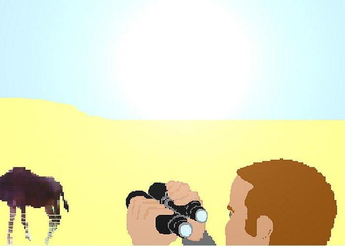 Wildlife Doe Fawn Fading Desert Hot Sun Greeting Card featuring the digital art Fading Away by Bethwyn Mills
