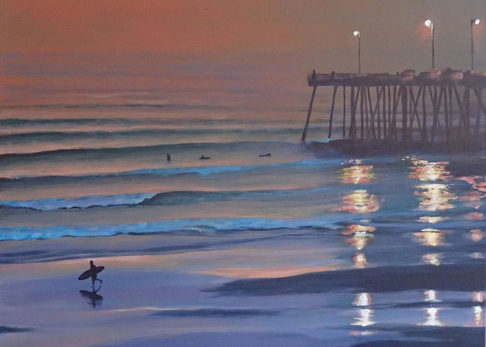 Beach Greeting Card featuring the painting Fading Light by Philip Fleischer