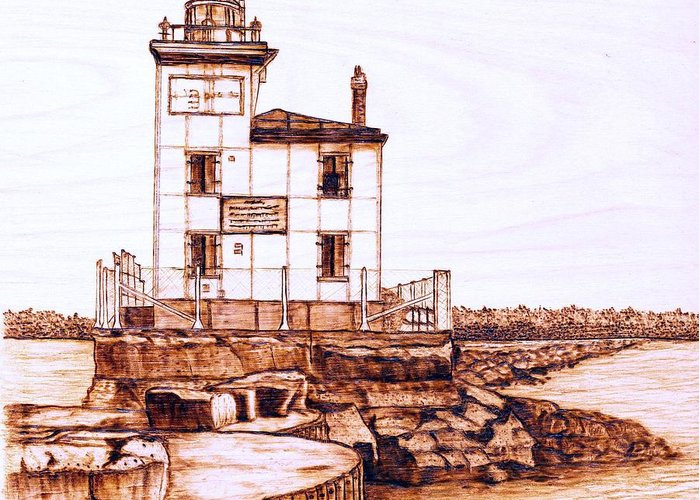 Lighthouse Greeting Card featuring the pyrography Fair Port Harbor by Danette Smith