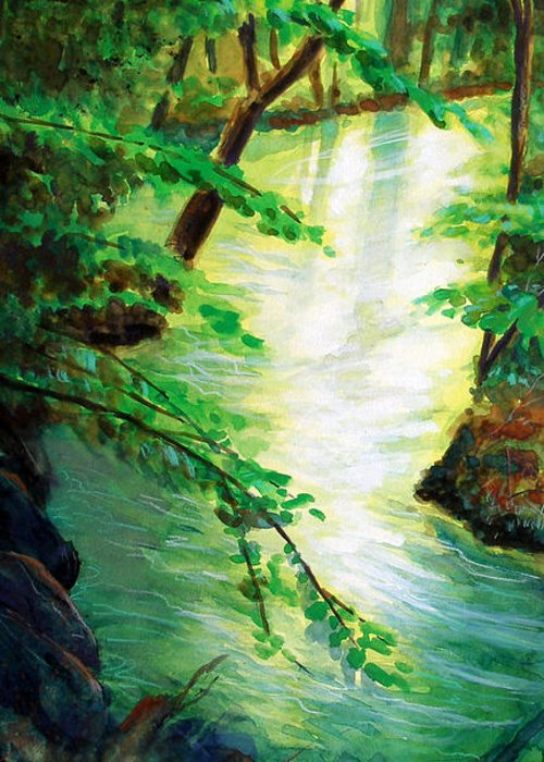 Forest Greeting Card featuring the painting Fairfax Summer by Ken Meyer