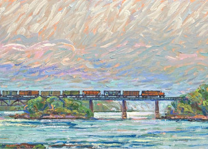 Train Greeting Card featuring the painting Fairfield Trestle by Gary Symington
