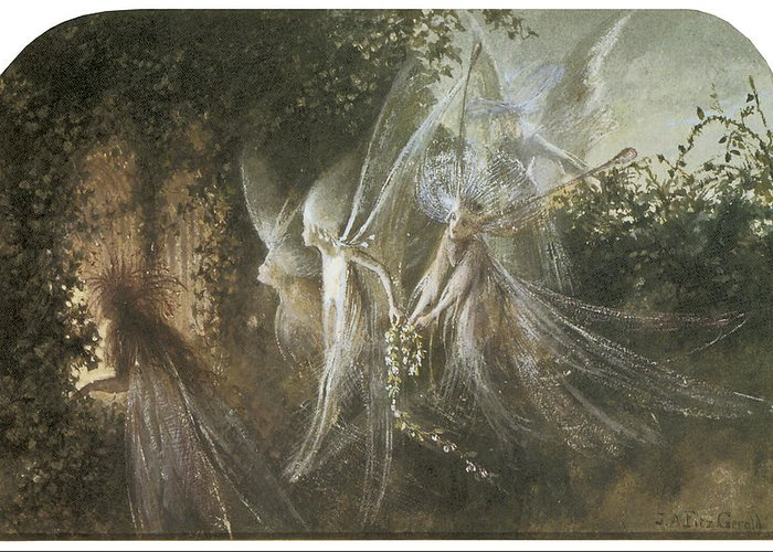 John Anster Fitzgerald Greeting Card featuring the painting Fairies Looking Through A Gothic Arch by John Anster Fitzgerald