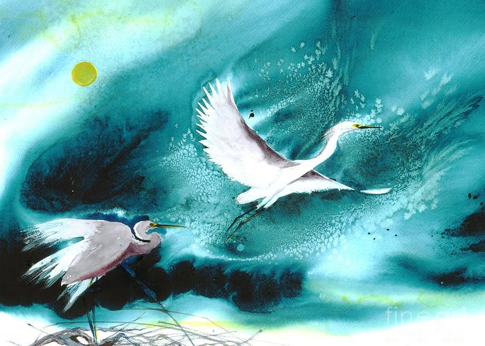 A Pair Of Egrets By The Water At Night- A Watercolor Painting Greeting Card featuring the painting Fairies by Mui-Joo Wee