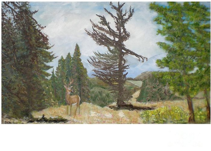 Deer Greeting Card featuring the painting Fairplay by Hal Newhouser
