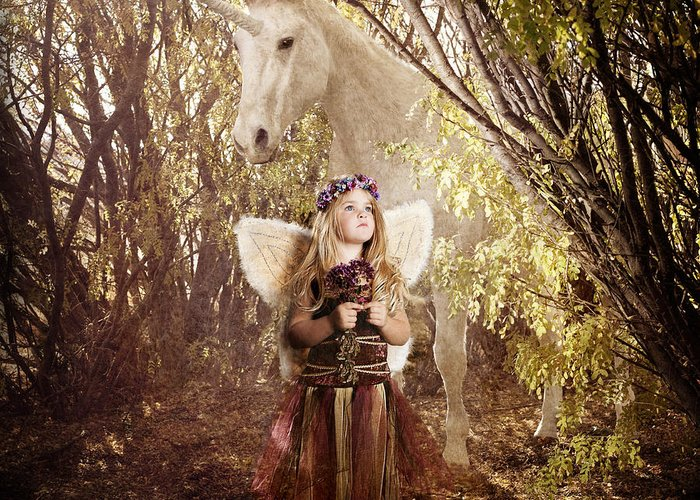 Unicorn Greeting Card featuring the photograph Fairy And Unicorn by Cindy Singleton