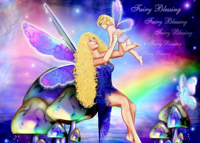 Fairy Greeting Card featuring the painting Fairy Blessing by Dreamlight Creations