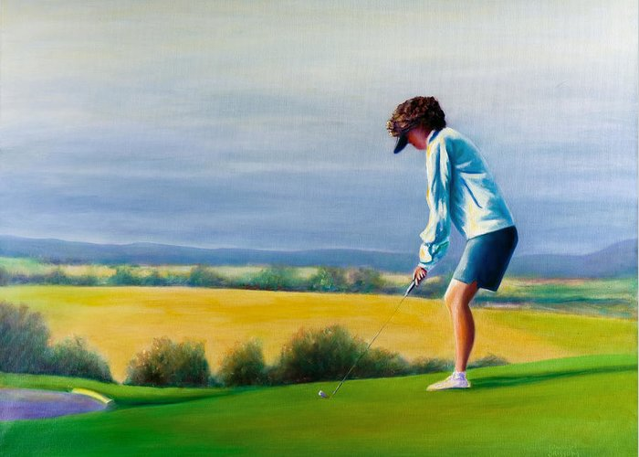 Golfer Greeting Card featuring the painting Fairy Golf Mother by Shannon Grissom