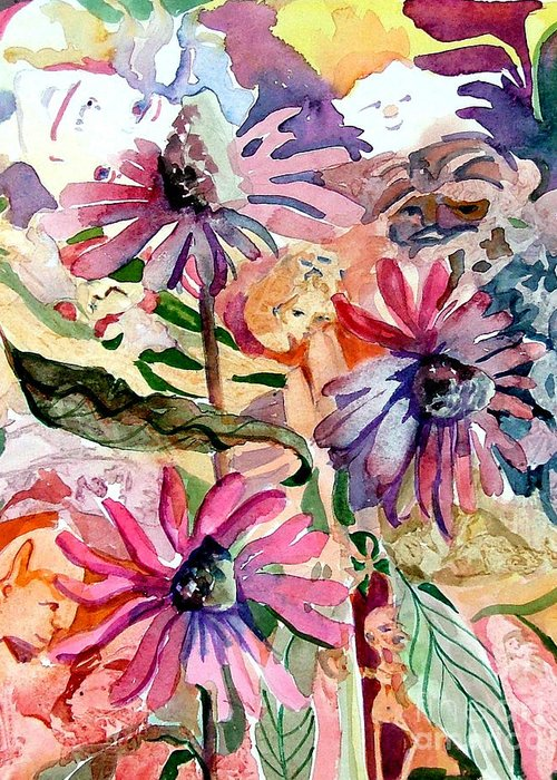 Daisy Greeting Card featuring the painting Fairy Land by Mindy Newman
