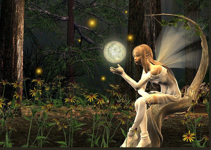 Fairy Fae Fairies Magic Fantasy Greeting Card featuring the digital art Fairy Light by Lisa Roy