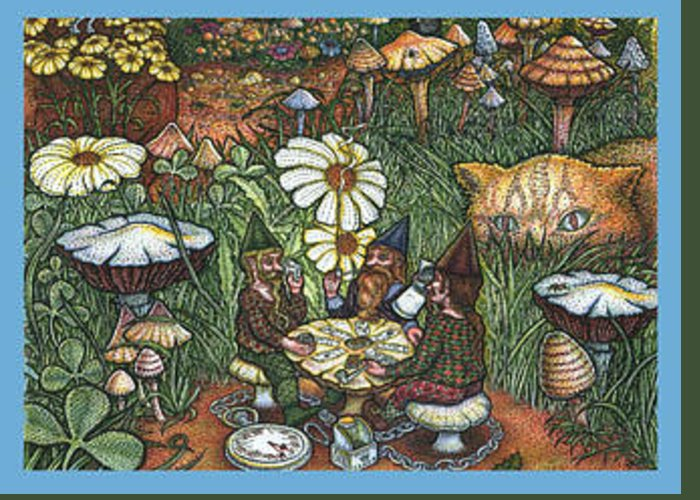 Gnomes Greeting Card featuring the drawing Fairy Ring by Bill Perkins