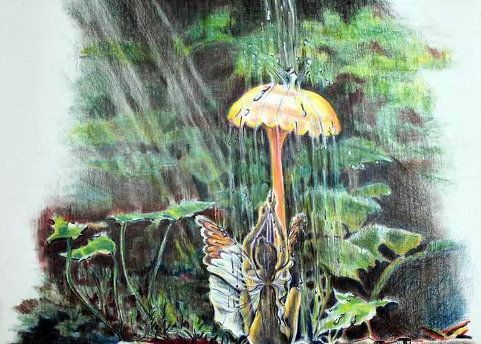 Fairy Greeting Card featuring the drawing Fairy Shower by Susan Moore