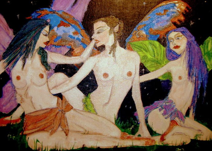 Faerie Greeting Card featuring the painting Fairy Sisters Of The Night by Donna Hanna