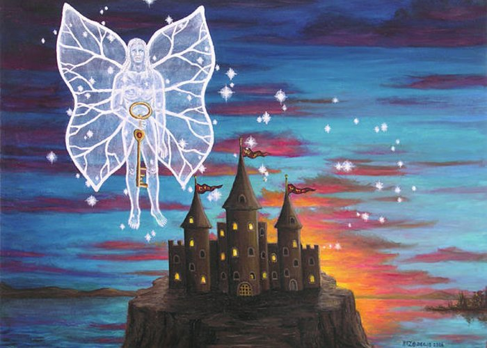 Fantasy Greeting Card featuring the painting Fairy Takes The Key by Roz Eve