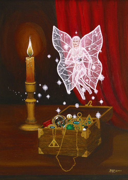 Fairy Greeting Card featuring the painting Fairy Treasure by Roz Eve