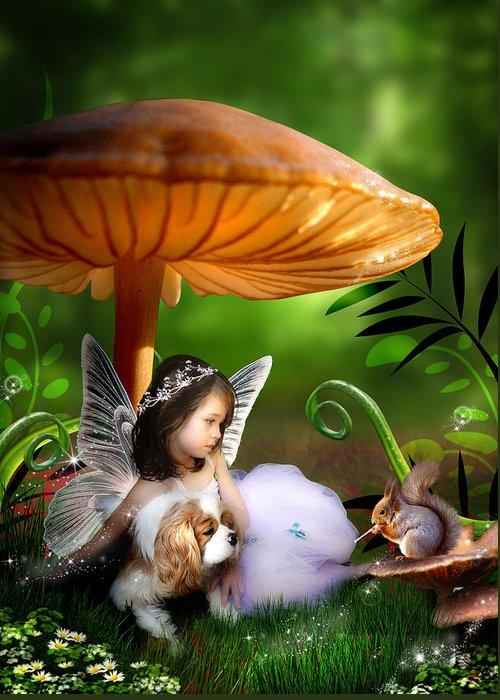 Child Greeting Card featuring the digital art Fairy Woodland by Julie L Hoddinott