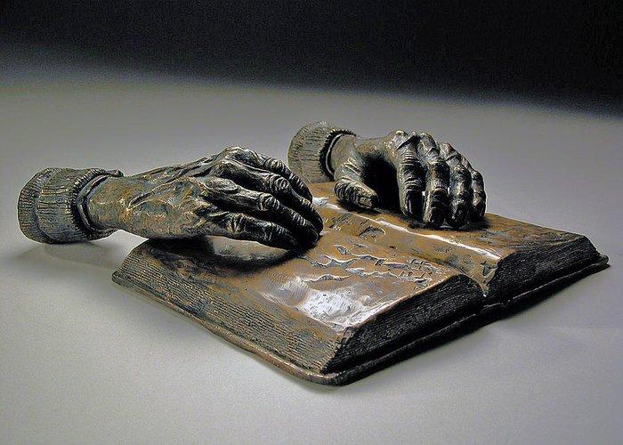 Original Figurative Sculpture Greeting Card featuring the sculpture Faith by Eduardo Gomez