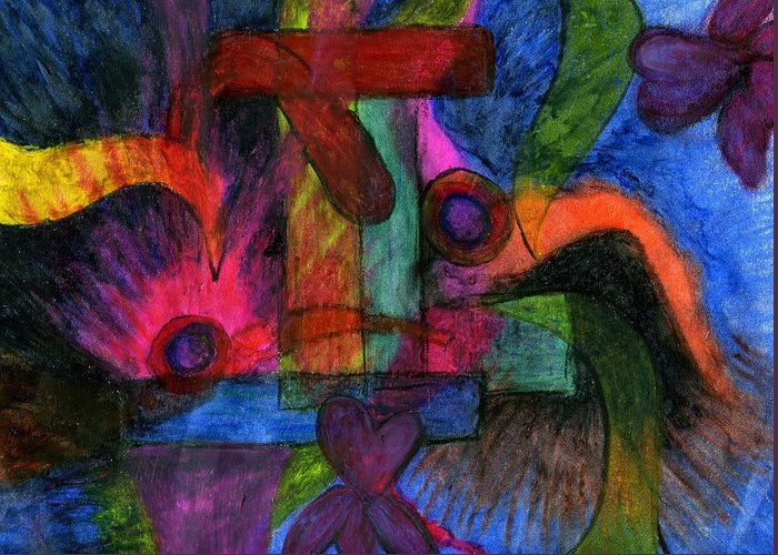 Faith Explosions Greeting Card featuring the pastel Faith Explosions by Cassandra Donnelly