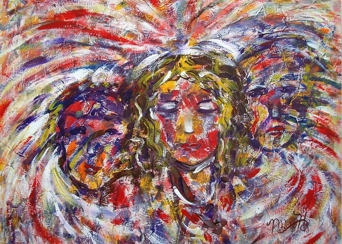 Woman Greeting Card featuring the painting Faith Hope And Love by Natalie Holland