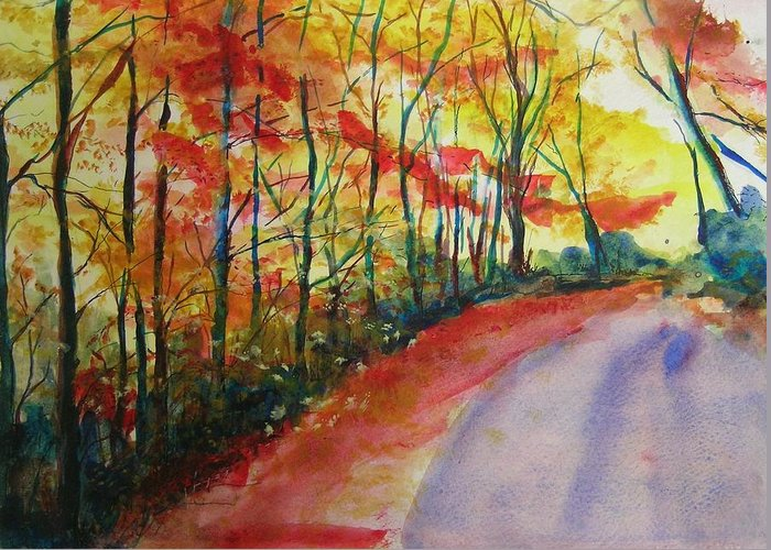 Abstract Landscape Greeting Card featuring the painting Fall Abstract by Lizzy Forrester