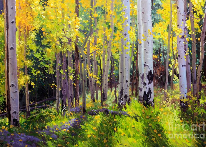 Aspen Tree Greeting Card featuring the painting Fall Aspen Forest by Gary Kim